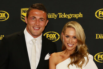 Sam and Phoebe Burgess at the 2014 Dally M awards.