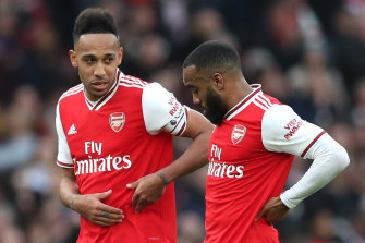 Arsenal's Pierre-Emerick Aubameyang (left) and Alexandre Lacazette are looking more and more likely to be back on the field next month.