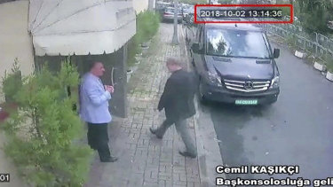 This image taken from CCTV video claims to show Saudi journalist Jamal Khashoggi entering the Saudi consulate in Istanbul.