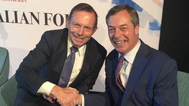 Nigel Farage and Tony Abbott in Sydney earlier this month.