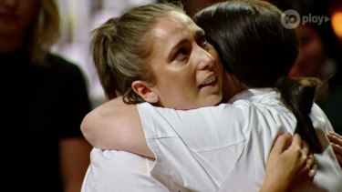 MasterChef 2020 winner Emelia Jackson (right) embraces runner-up Laura Sharrad.