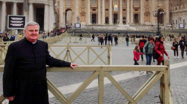 Father Glen Walsh in St Peters Square at the Vatican before his meeting with Pope Francis in 2016.