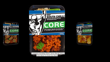 Core Powerfoods frozen meals have been recalled over links to salmonella.