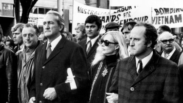 Anti-Vietnam War moratorium march in Melbourne, 19 May 1972. The march leaders [R-L] Victorian Opposition Leader, Clyde Holding; convener of Save our Sons, Jean McLean; Labor MPs Tom Uren and Dr Jim Cairns.