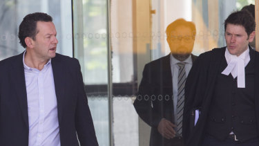 Some of the investor class action team. Left-to-right: Litigation funder Mark Elliott, solicitor Tony Zita of portfolio law and barrister Michael Symons