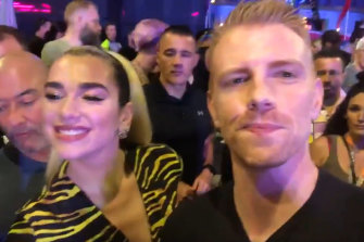 Actor Daniel Newman with pop singer Dua Lipa and at Mardi Gras in Sydney.