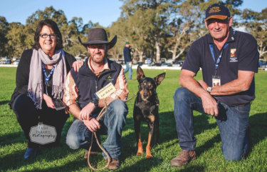 Nothing to sniff at: Casterton Kelpie Association president Karen Stephens, vendor Christian Peacock and Working Dog Auction Chairman John Matthews with kelpie Glencairn Seven, which sold for a world record $22,200.