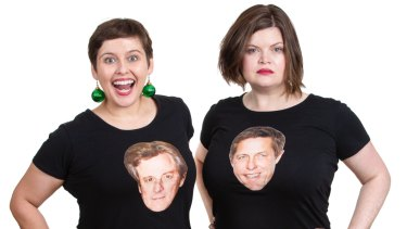 Amy Currie and Natalie Bochenski, with Colin Firth and High Grant on their T-shirts, are the creators of stage show  Love/Hate Actually.
