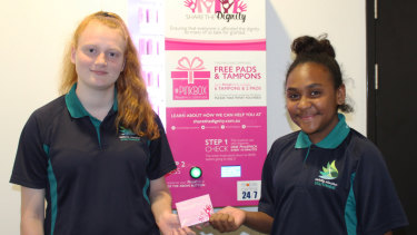 Carinity Education Southside students Skyie and Neavu with Share the Dignity Pinkbox