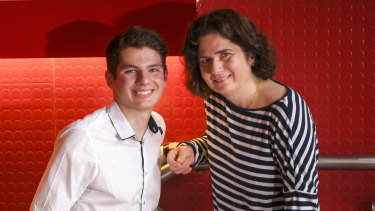 Simon Seddon and his mother Mary, one of the top VCE students offered Melbourne Chancellor's Scholarship.