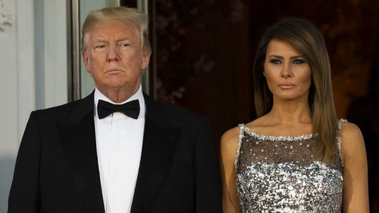US President Donald Trump and first lady Melania Trump at the White House last month.