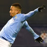 Gabriel Jesus spectacularly scores Manchester City's third goal against Dinamo Zagreb.