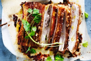 Quick roast pork belly and sour apple sauce.