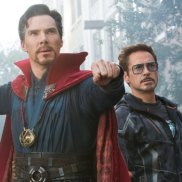 Doctor Strange (Benedict Cumberbatch), Iron Man (Robert Downey Jr), Hulk (Mark Ruffalo) and Wong (Benedict Wong) in Avengers: Infinity War.