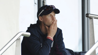 England captain Joe Root looks on from the stands as Australia romp to Ashes victory.