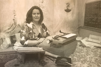 Author Colleen McCullough at her typewriter in the 1970s, on which she wrote her first two novels.
