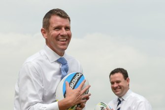 Then NSW premier Mike Baird and Penrith MP Stuart Ayres at Panthers on March 24, 2015, announcing $12 million for the Western Sydney Community and Sports Centre.