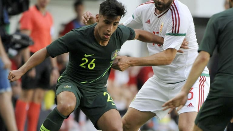 Daniel Arzani scores his first international goal in his second appearance for the Socceroos last Sunday.