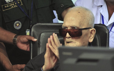 Nuon Chea, who was the Khmer Rouge's chief ideologist and No. 2 leader, sits in a court room before a hearing at the U.N.-backed war crimes tribunal in Phnom Penh, Cambodia, Friday, Nov. 16, 2018.