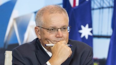 Australian Prime Minister Scott Morrison at the start of a White House climate summit.