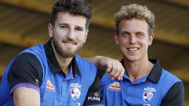 Bulldogs vice-captain Mitch Wallis, right, with skipper Marcus Bontempelli.