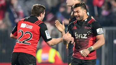 George Bridge (left) and Richie Mo'unga got their seasons back on track with the Crusaders.