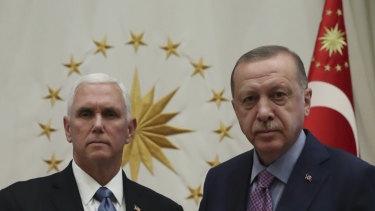 US Vice-President Mike Pence meets with Turkish President Recep Tayyip Erdogan.