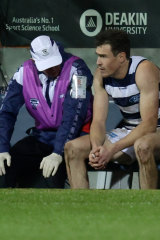 Jeremy Cameron was subbed out of the round 16 game before half-time.