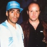 Cooma Tigers coach Gaby Wilk catches up with his former teammate, Diego Maradona, before Argentina's 1993 World Cup qualifier against Australia in Sydney.