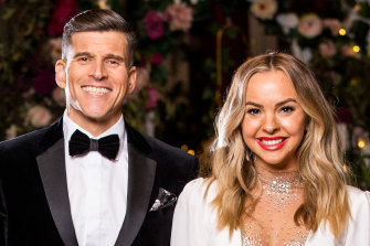 Osher Gunsberg and Angie Kent in the new season of The Bachelorette Australia.