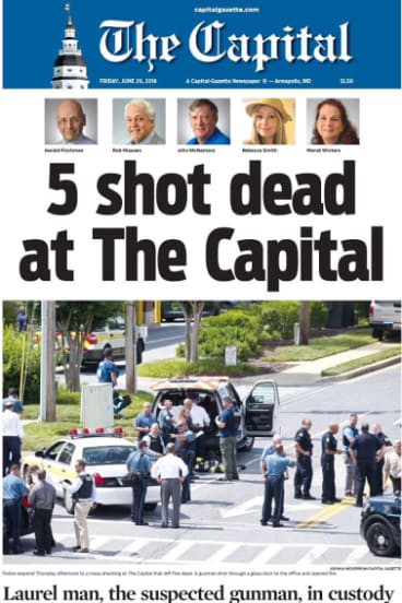 The front page of The Capital on Friday, after the killing of five of its staff.