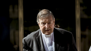 Cardinal George Pell leaves court after being found guilty in December of  sexually assaulting two choirboys in 1996.