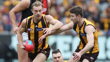 James Worpel finds space during Hawthorn's narrow and important win.
