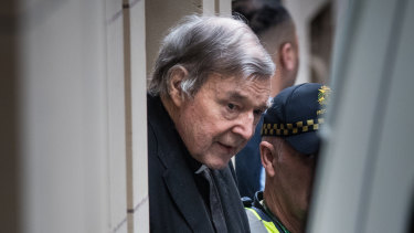George Pell leaving the Supreme Court after his appeal was dismissed.