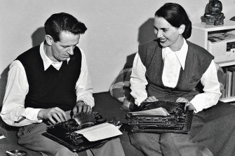 George Johnston and Charmian Clift working side-by-side in Sydney in 1948, before they moved to Hydra.