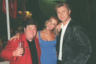 Coleman (left) with Richard Wilkins and Catriona Rowntree at a party in 2001.