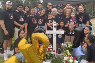 Keith Titmuss' family and friends celebrates his 21st birthday at Forest Lawn Memorial Park in Leppington in February.