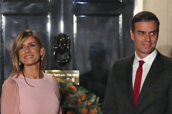 The Spanish Prime Minister Pedro Sanchez and his wife Begona Gomez, who has tested positive for the new coronavirus.