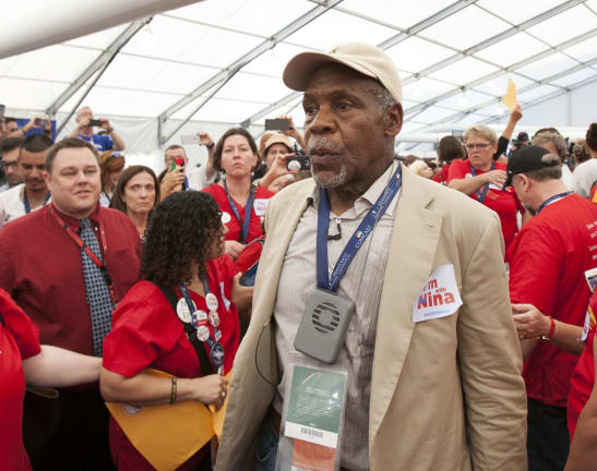 Actor and activist Danny Glover joins supporters of Bernie Sanders delegate Nina Turner.