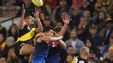 Stack's up:  Richmond's Sydney Stack flies high for a mark against Melbourne.