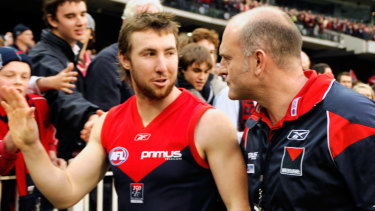 Close relationship: Former Melbourne player Brock McLean with then-coach Dean Bailey in 2008.