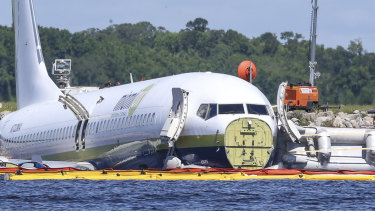The US Military chartered Boeing 737 was travelling from Naval Station Guantanamo Bay, Cuba, when it crash landed into the St Johns River near Naval Air Station Jacksonville.