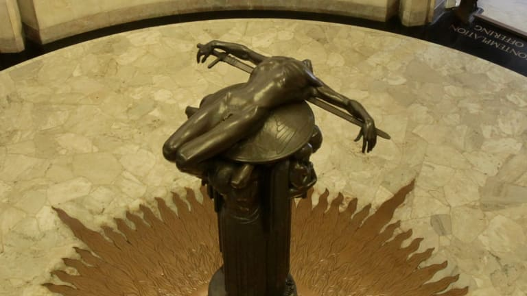 Hoff's sculpture, Sacrifice, inside the memorial.