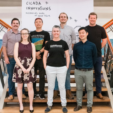 Some of the GrowLab cohort during their demo day, including Dale Schilling (far left) and Alex Soeriyadi (second from right).