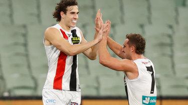 Max King and Luke Dunstan celebrate