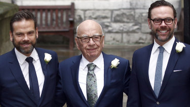 Media Mogul Rupert Murdoch poses for a photograph with his sons Lachlan and James. Eddington says the opportunity for the Murdochs to buy Time-Warner passed because the price was too high.
