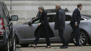 British Prime Minister Theresa May arrives at 10 Downing Street in London on Monday.