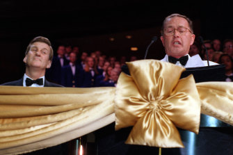 Then premier Jeff Kennett (left) and casino boss Lloyd Williams at the official opening of Crown Casino in 1997.