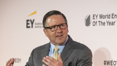 Anthony Pritzker of Pritzker Capital speaking at the EY World Entrepreneur of the Year in Monaco.