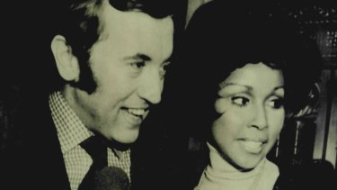 British television personality David Frost and actress-singer Diahann Carroll at New York's Plaza Hotel where their engagement was announced in 1972.